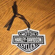 HARLEY-DAVIDSON Motorcycles Bar & Shield Silver & Black Glass ORNAMENT 96912-12V