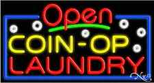 """NEW """"OPEN COIN-OP LAUNDRY"""" 37x20 REAL NEON SIGN W/CUSTOM OPTIONS 15488"""