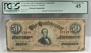 1864 $50 CT-66 Confederate Civil War Counterfeit Banknote Hoard PC-182