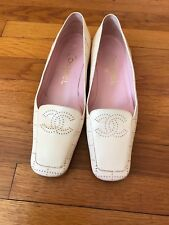 CHANEL Light Pink Square Toe & Logo Flat Woman's Size 8.5