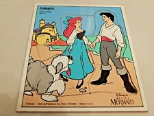 Vintage Playskool Wooden Puzzle Ariel & Eric From Disney's Little Mermaid EUC