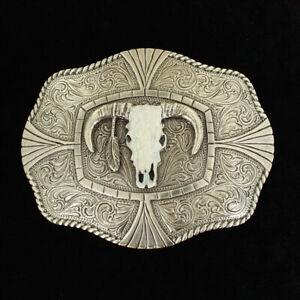 3-D SKULL HEAD w/ Feather - Western Belt BUCKLE - Silver, Southwest Indian 37403
