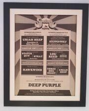 DEEP PURPLE*HEEP*QUO*HAWK*Sundown*1972*RARE*ORIGINAL*POSTER*AD*FRAMED*FAST SHIP