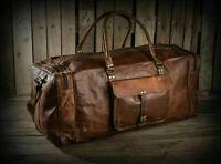 Men's Large Genuine Vintage Leather Duffel Luggage Gym Sport Overnight Brown Bag
