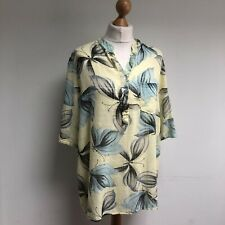 MADE IN ITALY Blouse Shirt OSFA Yellow Butterfly 100% Cotton BNWT 3/4 Sleeve