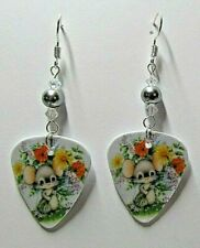 """Dangle 2"""" Wire Earrings Cute! Springtime Mouse With Flowers Custom"""