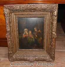 19th CENTURY Olandese Antico dipinto ad olio Ritratto di famiglia 1880