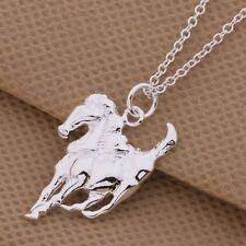 925 Sterling Silver Plated Galloping Horse Pendant & Necklace/48cm/19 inches