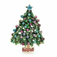 Moda vintage strass albero di natale spille in metallo spille gioielli per...
