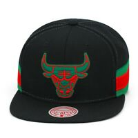 Mitchell & Ness Chicago Bulls Snapback Hat Cap Black/Green/Red/Two Patches