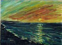 ALMOND BEACH Sunset new 6x8 oil painting wood panel art original signed Crowell