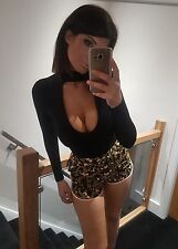 Sexy Topshop splendida stampa leopardata color kaki Tiny Vita Alta Festival Pantaloncini! Taglia 8