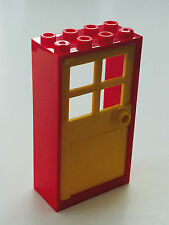 *NEW* 1 Set LEGO 2x4x6 RED Frame & YELLOW Door with 4 PANES 60599