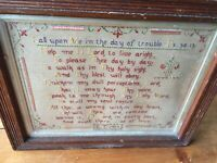 ANTIQUE RELIGIOUS CHRISTIANITY 1915 WOODEN FRAMED HAND STITCHED TAPESTRY SAMPLER