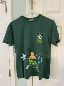 VTG Disney Athletics Soccer Mickey Mouse Goofy T-Shirt Size Medium USA Green
