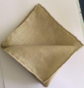 Luxury Hand-Rolled-Hem Linen Natural Oatmeal - Handmade in UK