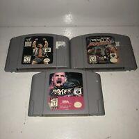 Nintendo 64 3 Game Wrestling Lot Tested WCW NWO WWF ECW War Zone Mayhem N64