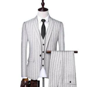 Mens Striped Suit 3pcs Formal Wedding Slim Fit One Button Blazer Coats Pant Vest