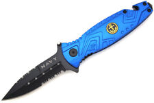"Snake Eye Tactical "" Navy "" Action Assist Folding Knife 4.5"" Closed"
