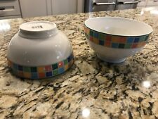 "Villeroy & Boch 5 5/8"" Bowls 2pc Set Twist Alea Limone China Cereal Soup Rice"