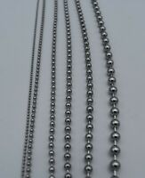 """1.5 mm-6 mm 7""""-42"""" SILVER  STAINLESS STEEL BALL CHAIN NECKLACE, USA SELLER"""