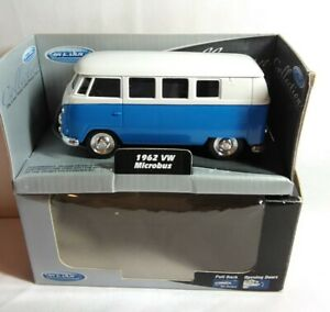 WELLY DIECAST 1962 VOLKSWAGEN VW MICROBUS - BLUE / WHITE - TY3680 - LENGTH 11CM