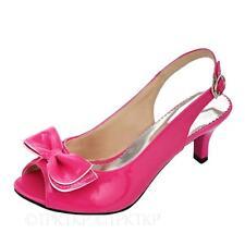 Womens ladies girls Slingback Mid high Heels Shiny Bow Sandals Plus Kids Size