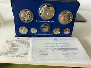 1975 BARBADOS - OFFICIAL PROOF SET (8) w/ 2 SILVER - 2 Oz ASW - PS3 -BEAUTY!