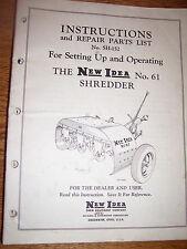 VINTAGE  NEW IDEA OPERATORS & PARTS  MANUAL-# 61 SCHREDDER - 1954