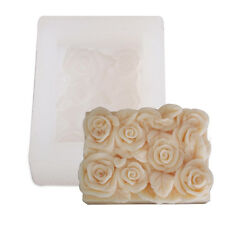 Silicone White Rectangle Rose Flower Mold Soap Chocolate Candle Mould Crafts DIY