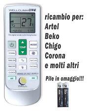 Telecomando condizionatore climatizzatore Artel Beko Chigo Corona inverter