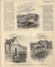 Stampa antica PALMANOVA insieme di tre vedute Porte Udine 1895 Old antique print