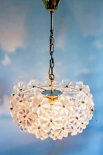 ORIGINAL LARGE ERNST PALME PLAWA FLORAL PENDANT LIGHT 43 MURANO GLASS FLOWERS