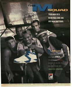 1992 FILA  blue M Squad Sneakers Basketball streetball shoe Vintage Print Ad