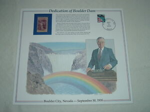 1935 DEDICATION OF BOULDER DAM Hoover Nevada Hydro-electrical Stamp Panel &Print