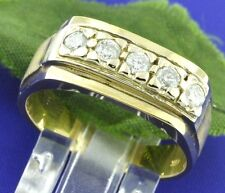 0.55 ct 14k White and Yellow Gold Mens Natural Diamond Ring 5 Stone classic