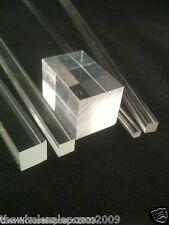 Quadrati trasparenti ACRILICO ASTA SOLIDO PERSPEX BAR PLEXIGLASS profilo per alimenti PMMA