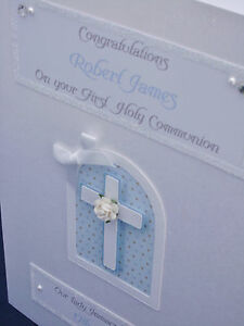 Luxury Personalised Boy's 1st Holy Communion/Christening/Baptism Card, boxed