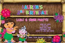 Dora Luau Pool Swim Birthday Party Invitation Summer Outing Photo or No Photo