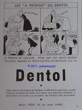 PUBLICITE DE 1939 DENTOL DESSIN DE BEUVILLE BEBE LANDAU ORIGINAL FRENCH AD