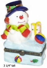 Baby Snowman with Gift and Ball-Porcelain Hinged-Box-Precious!