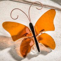J Devlin Decorative Amber Fused Glass Butterfly Home & Garden Decor Ornament