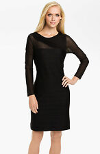 NWT Patra Black Sheer Illusion Sleeve Bandage Ribbed Knit Sheath Dress 8 $198