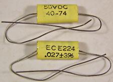 3 Electrocube E224 .027uf 50V Polyester Film Capacitors NOS Guitar Tone