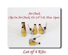 "lot 4 Tire Valve Clip-On Air Chuck Brass Fit 1/4"" 6 mm I.D Hose. Open.Tire Valve"