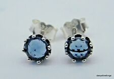 AUTHENTIC PANDORA EARRINGS BLUE SPARKLING CROWN STUD EARRINGS  #298311NMB TAGS