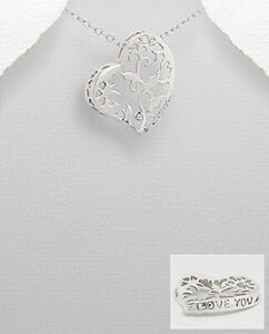 Sterling Silver Heart Pendant with Arabesque Cut-Out
