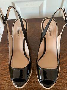 Valentino Garavani Black Patent Leather Wedge Espadrilles Shoes Uk7 RRP £720 New