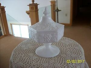 Imperial Glass Opaque Milk Glass Six Sided Covered Candy Dish With Grape Vine