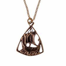 ST JUSTIN Bronzo Vichingo nave Ciondolo Placcato Oro Collana Catena in confezione regalo